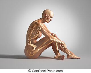 Sitting woman with bone skeleton - Naked woman, sitting down...