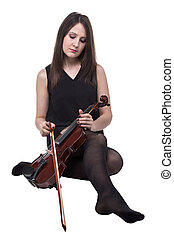 Sitting woman with fiddle