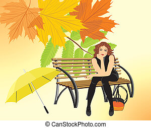 Sitting woman with umbrella