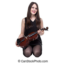 Sitting young woman with violin
