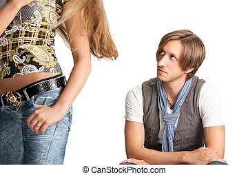 sittng men looks at woman bottom