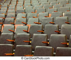 sittplatser, hos, en, gammal, bio