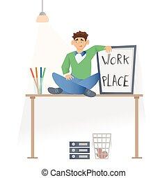 sittting , εργαζόμενος , εικόνα , ακολουθία. , απομονωμένος , νέος , μικροβιοφορέας , γλώσσα , white., άντραs , ανέμελος , desktop., ρούχα