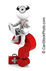 sittting, портативный компьютер, медик, вопрос, отметка, красный