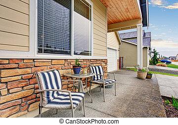 sittting, klassisk, trä, portal, ordning, främre del, home.