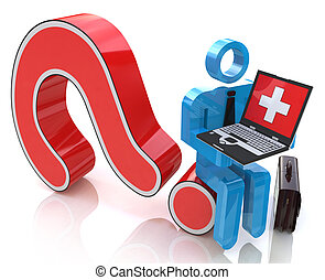 sittting, Persone,  laptop, domanda, isolato, bianco, marchio, rosso,  3D