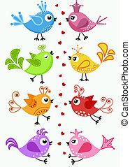 situação, pássaros, coloridos