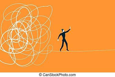 situación, difícil, tangle., came, afuera