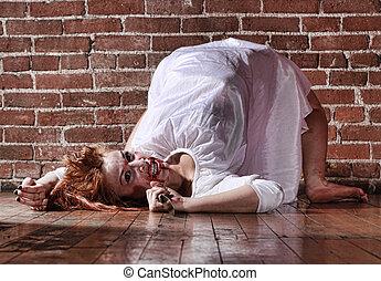 situación, horror, cara mujer, sangriento