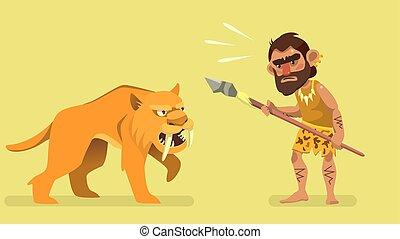 situación, reunión, primitivo, cazador, y, saber-toothed, tiger., ilustración, para, niños, book., vector