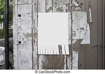 situado, junta de papel, vacío, boletín