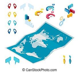 situare, isometrico, inseguimento, pin., pista, navigare, map., funzione, telefono, strada, navigazione, mappe, pointer., piolini, posizione, tecnologia, rosso, gps