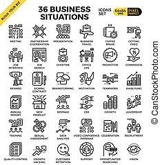 situation, icones affaires
