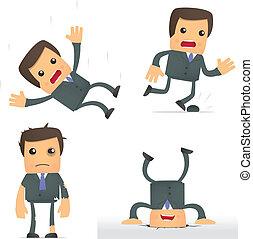 situation, rigolote, homme affaires, dessin animé, dangereux