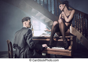 situation, sexy, paar, klavier, intim