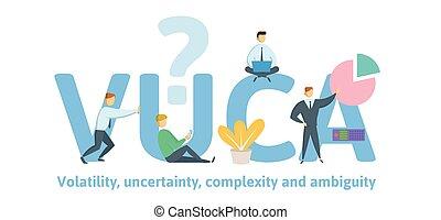 situations., complexité, conditions, vecteur, général, vuca, arrière-plan., keywords, lettres, incertitude, ambiguïté, volatility, blanc, plat, illustration, concept, icons.