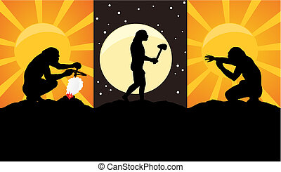 Situations from a life of primitive people. A vector illustration