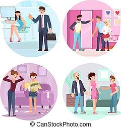 situazioni, differente, set, genitori, adolescenti