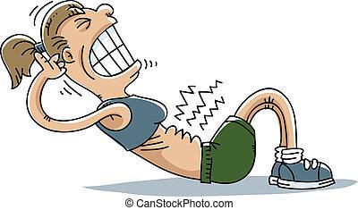 A cartoon woman strains to do situps.