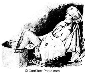 Sitz and foot bath combined, with cold compress on head, vintage engraved illustration.