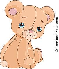 sitzen, bär, teddy