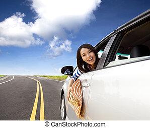 sitzen, frau, auto, glücklich, junger