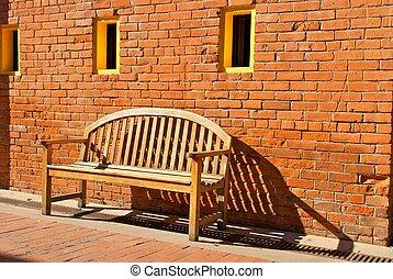 sitzen, hölzern, gelber , bank, wand, windows, orange, ...