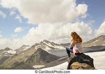 sitzen, himmelsgewölbe, junges schauen, rand, m�dchen, felsformation