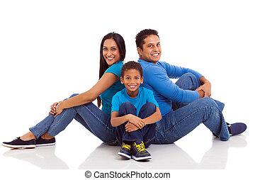 sitzen, indische , familie, boden