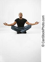 sitzen, mann, meditating.