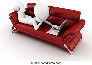 sitzen, sofa, laptop, 3d, rotes , mann