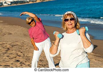 sitzung, älter, strand., weibliche , fitness