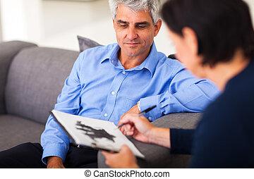 sitzung, mitte, therapeut, antikisiert, mann