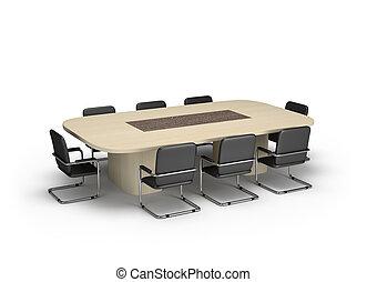 sitzungssaal, mit, oval, tisch