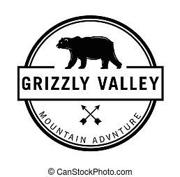 siwy, dolina, :, niedźwiedź, etykieta