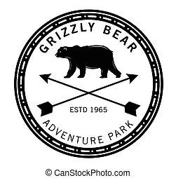 siwy miś, :, niedźwiedź, etykieta