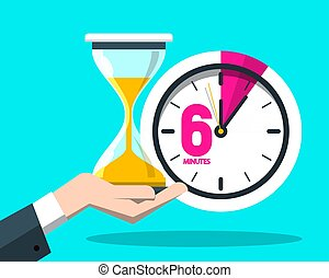 Six 6 Minutes Time Symbol. Vector Clock Icon with Hourglass.