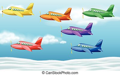 Six airplanes flying in the sky