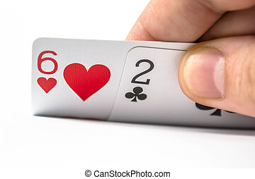 Six and two bad poker card on isolate white background