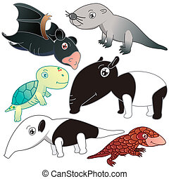 six animals on white background