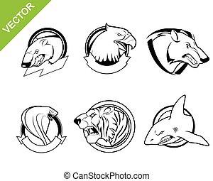 Six animals set - Vector illustration of a six animals set
