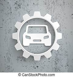 Six Arrows Big White Gear Car Concrete - Infographic with...
