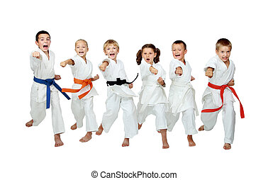 Six athletes hit a punch arm - On a white background six...