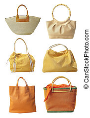 Six bags - Six handbag isolated on white background...