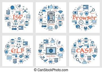Six banners - ISP, Chatting, Browser - Vector six business...