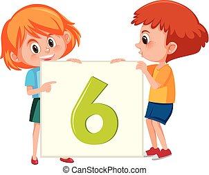 six, bannière, enfants, tenue, nombre