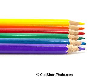 Six basic colors. - Color pencils in six basic colors.