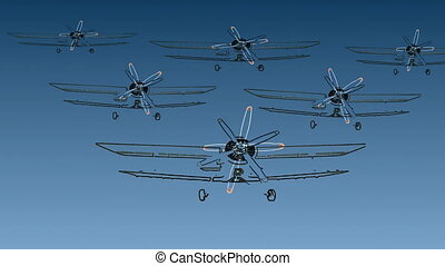six biplanes on the air front view,  animation