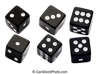Six black dices on a over white background