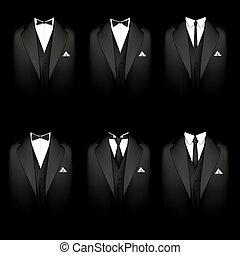 Six black tuxedos - Vector illustration of a six black...